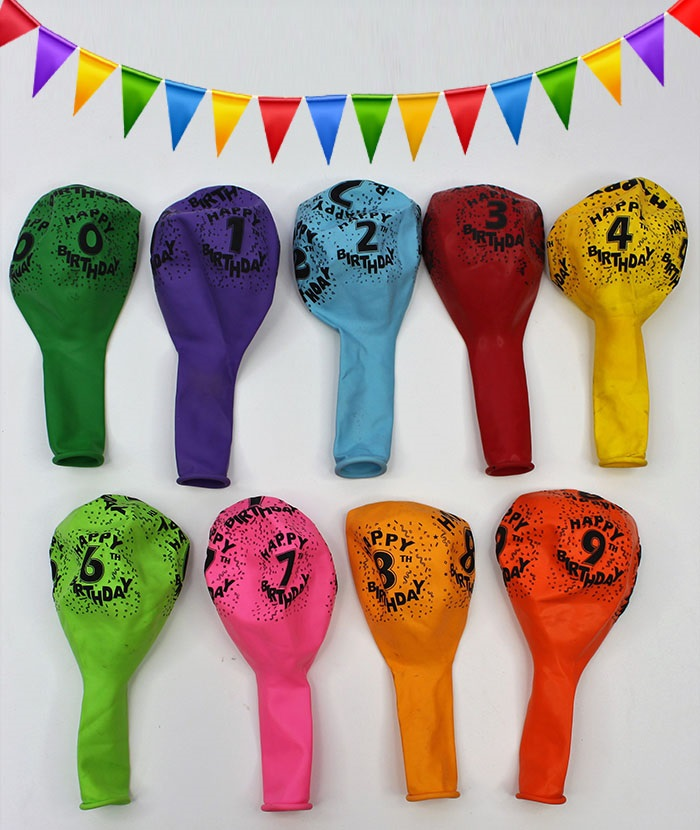 Colorful Numbers Balloons for Birthday -100Pcs