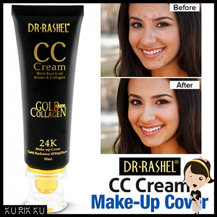 DR-RASHEL 24K CC Cream Make Up Cover With Real Gold Collagen Free Lighten Skin SPF60/PA+ 50ml
