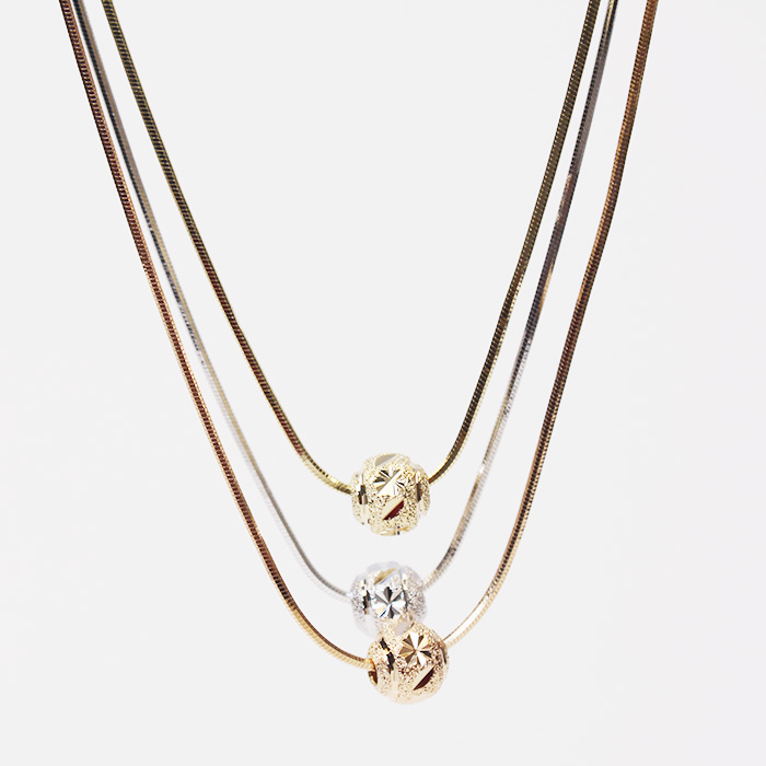 Triple Rope Round Happiness Necklaces