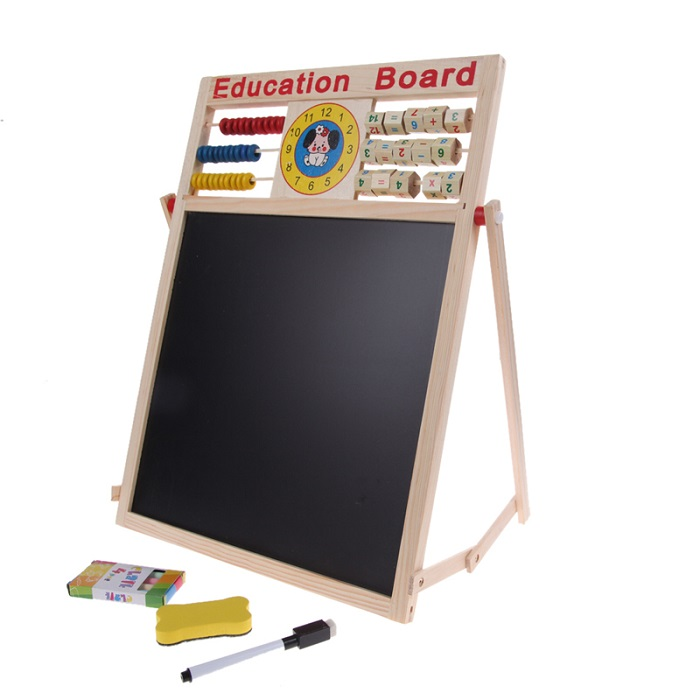 Kid Magnetic Writing Drawing Board Wooden Educational Kids Math Learning Toy Puzzle Board