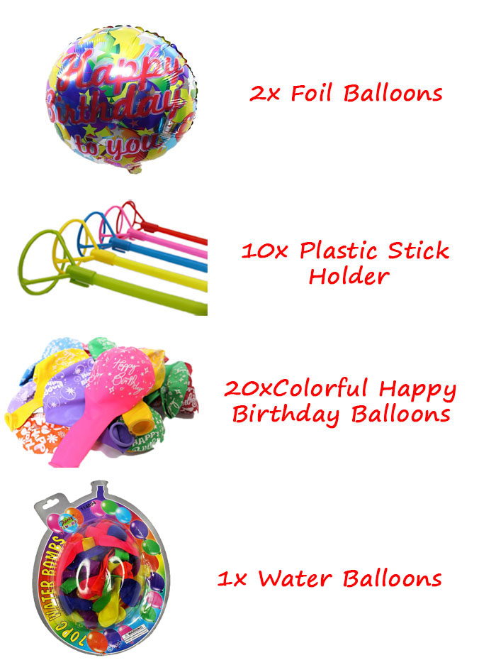 Birthday Party Pack Set for 10 Paxs - Combo B