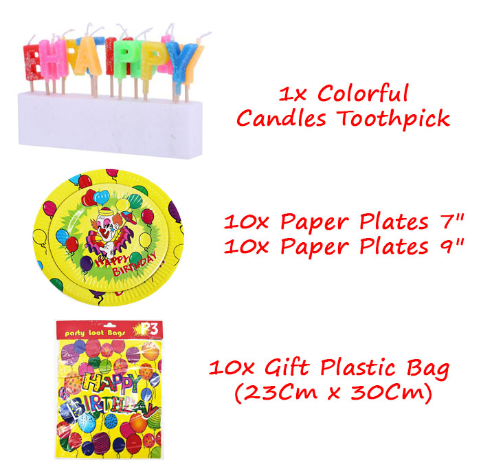 Birthday Party Pack Set for 10 Paxs - Combo C