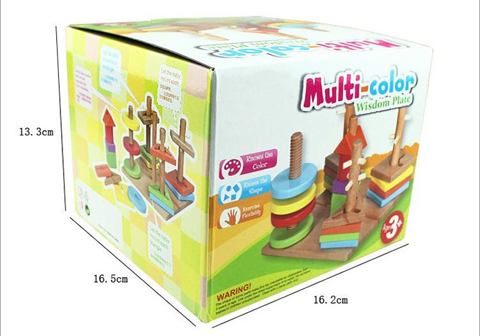 Multi-color Wisdom Plate Wooden Toy Geometric Shape Blocks Column Board Sorting Matching Toy