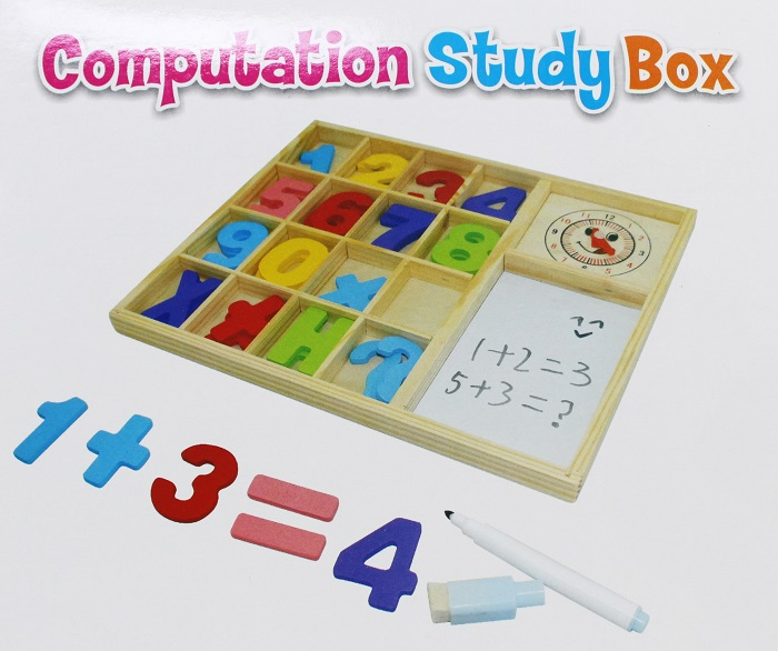 Computation Study Box Wooden Blackboard Drawing Board with Number Block