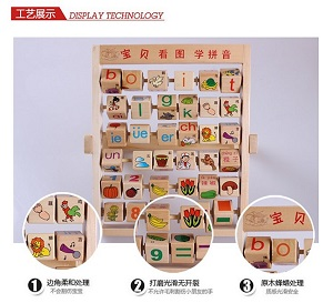 Xin Lei Wood Toy Pinyin Intelligence Flap Puzzle Children's Toys
