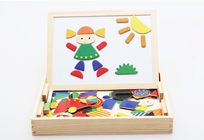 Xin Lei Wood Toy Magnetism Jigsaw Happy Wooden Magnetic Puzzle Play Board
