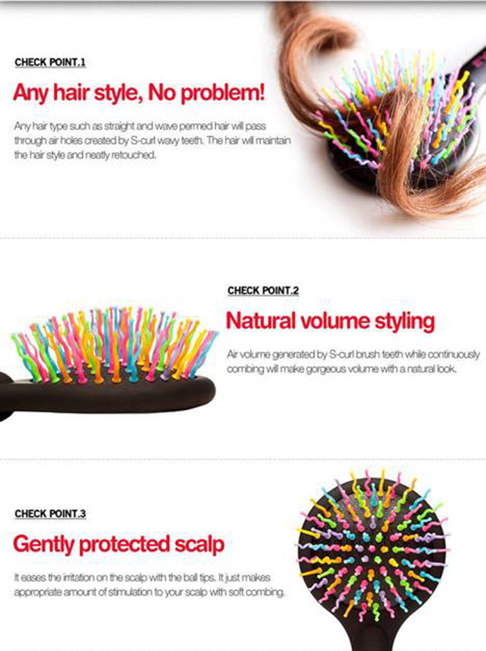 Kurikku Rainbow Comb Head Massage Hair Comb Anti-static Salon Styling Oval Shape