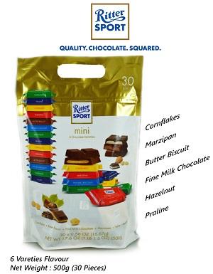 Ritter Sport Mini 6 Varieties Flavour Chocolate 500g (30pcs)